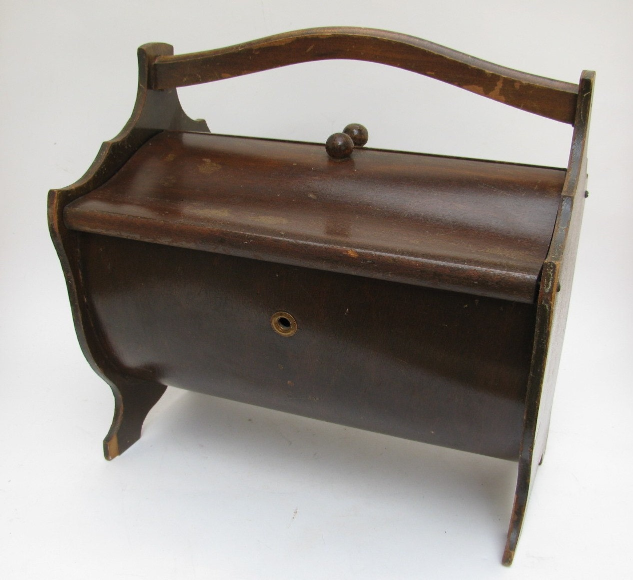 Antique Wood Round Belly Sewing Box ON SALE