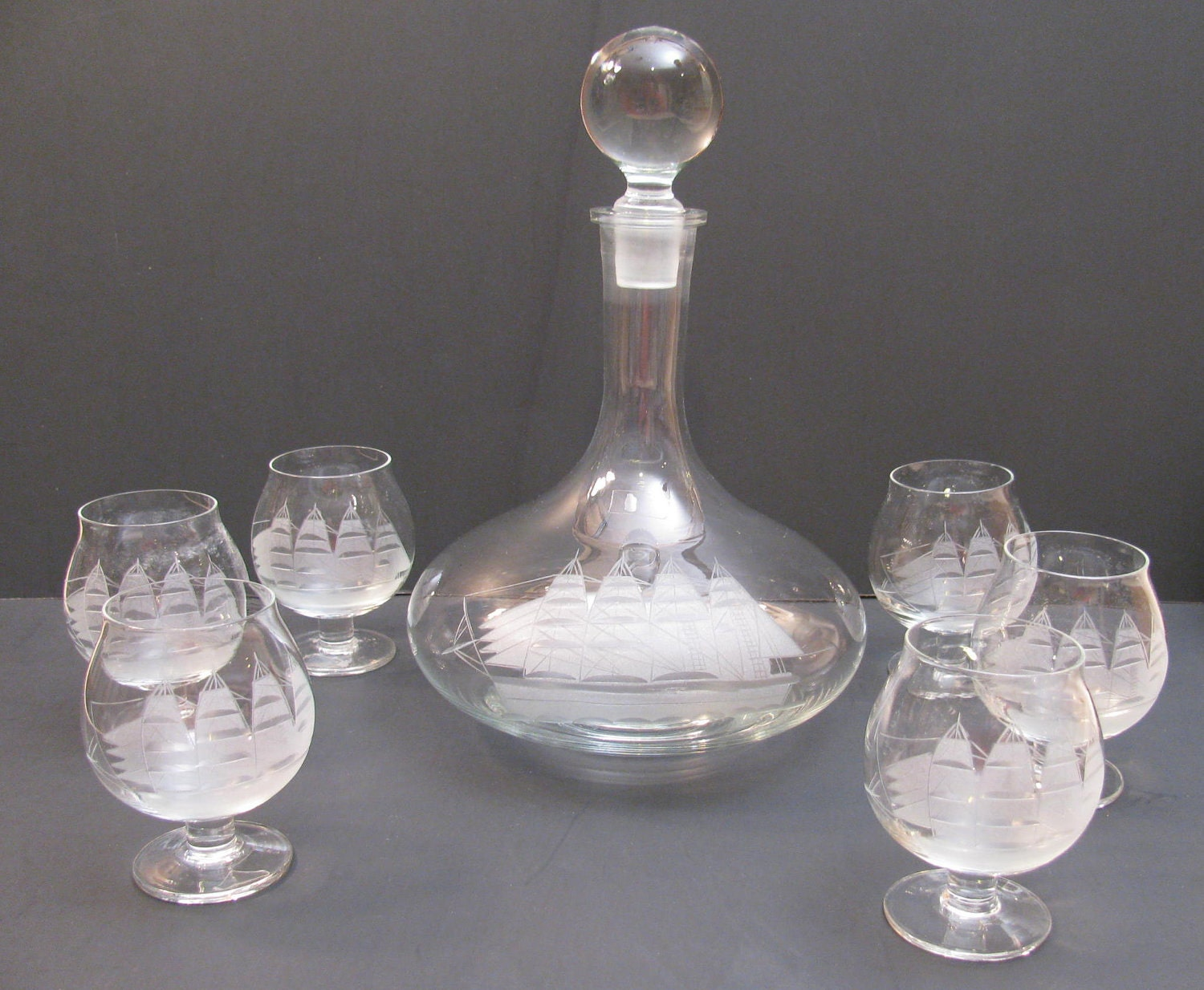 Etched Brandy Glasses