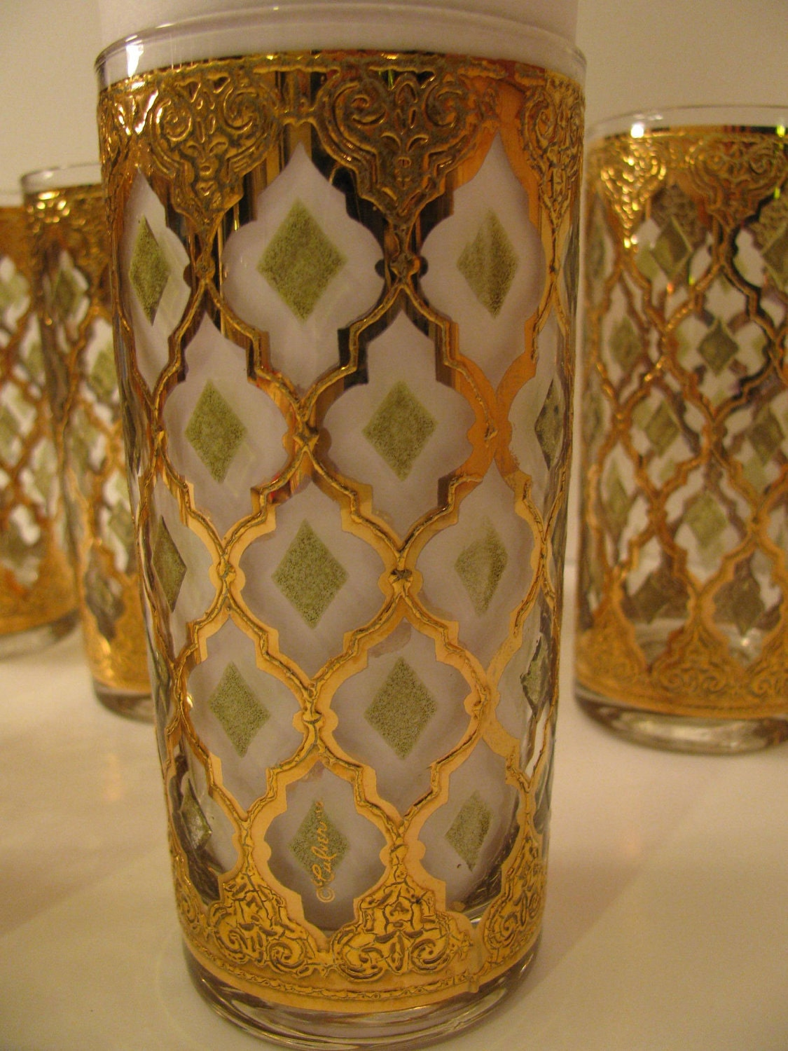 7 Valencia Gold And Green Drinking Glasses By Culver