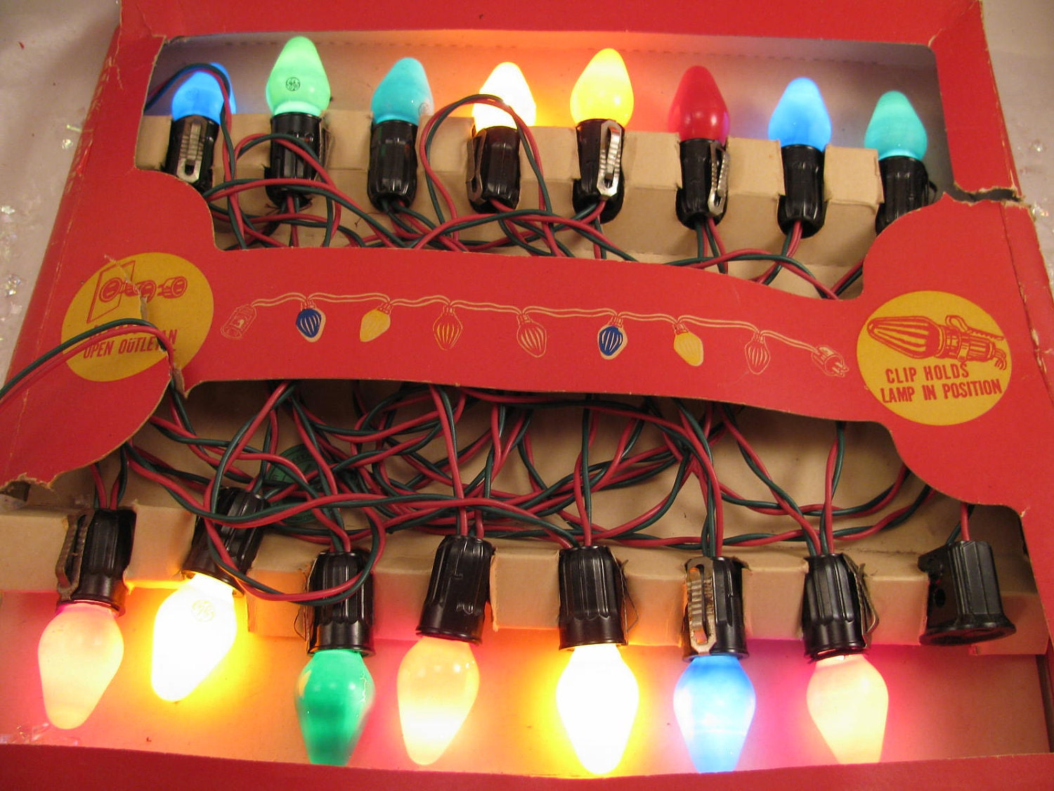 Retro Christmas String Lights : 15 Light String Sears Christmas Tree Lights 1950s
