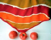 Tangerine Color Block Scarf , Chestnut Brown, Red Vintage 70s