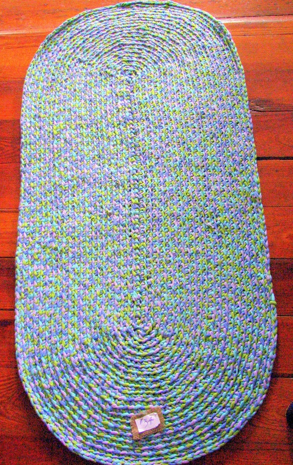 Braided Crochet Oval Rug Area Rag Lime Green By Tupperrugs