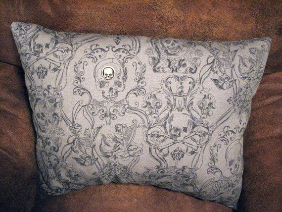 "RESERVED 4 Tricia Halloween Toile Pillow Skull Silver Button Grey Gothic 22"" x 16"" x 7"" BIG"
