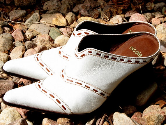 Cowboy Boots White Leather Mules Size 10 High Heel Cowgirl