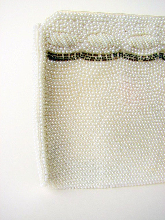 Vintage 60's Pearl White Clutch, Seed Pearls under, mint condition Boho or Mad Men