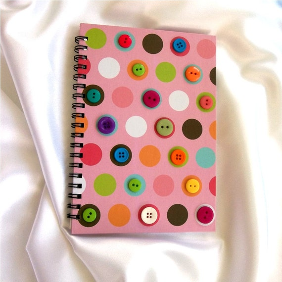 Button Embellished Notebook  - Polka Dots, Journal, Notepad , Buttons