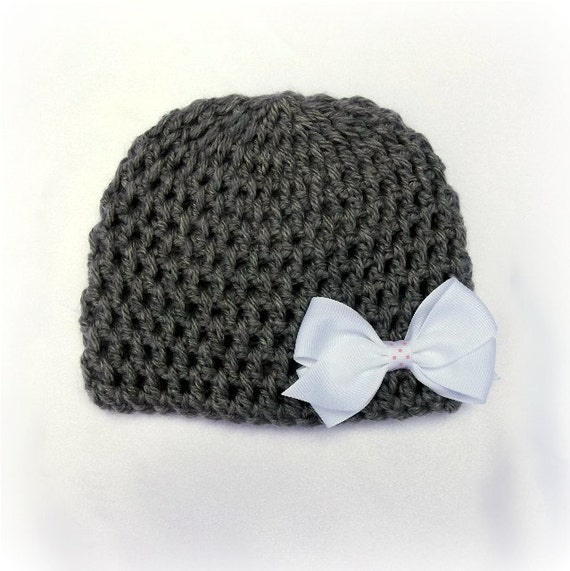 Crocheted Baby Beanie, Removable Bow, Photo Prop, Newborn