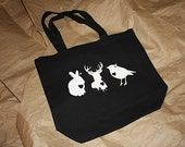 Primitive Halloween - Trick or Treat - Black Tote Bag with Animal Print - Recycled Cotton