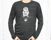 Longsleeve Shirt - Owl - Unisex - Eco-Heather Black - In Small, Medium, Large, Extra Large, 2X