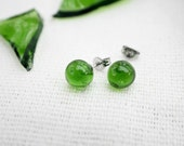 Recycled Earrings - Recycled Wine Bottle Earrings - Glass - Surgical Steel Studs - Green - Jewelry - Holiday Gift