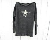 Longsleeve Bee Shirt , Longsleeve, bee illustration, bee art, bees,  Heather Black,  - Small, Medium, Large, Extra Large, 2X - Clothing