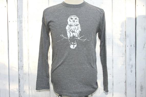 SUMMER SALE  - SMALL - Longsleeve Owl Shirt -  Alternative Apparel - Unisex - Eco-Heather Grey -