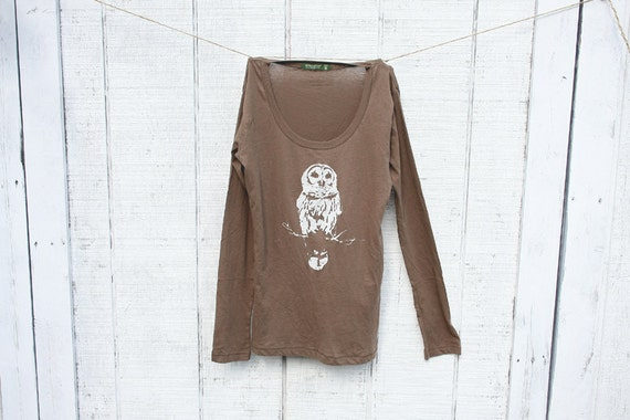 Long Sleeve OWL SHIRT- Women - brown - Alternative Apparel -  Organic Cotton -Available in Extra Large - Fall Fashion