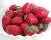 Lot of 32 Vintage Plastic STRAWBERRIES Fruit for Display