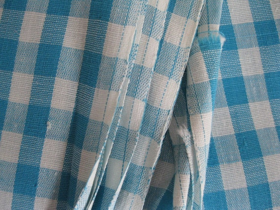 2 Yards...Vintage 1950's 1960's Aqua Blue & White Cotton Gingham Fabric