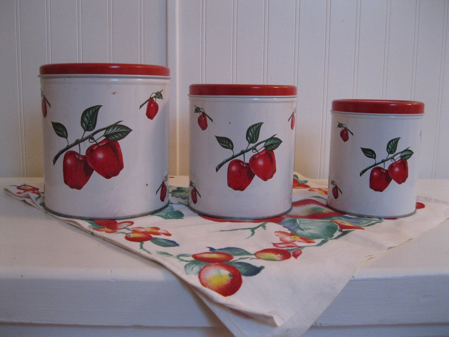 set of 3 vintage apple kitchen canisters by vintagebyvaughan