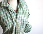 1960s Penneys Towncraft Plaid Green and Blue Button Down Long Sleeve
