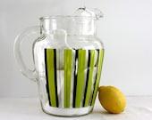 Vintage Mod Striped Large Glass Pitcher