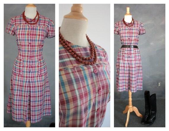 50s 60s Vintage Shirt Dress Western Plaid Day Wear Handmade