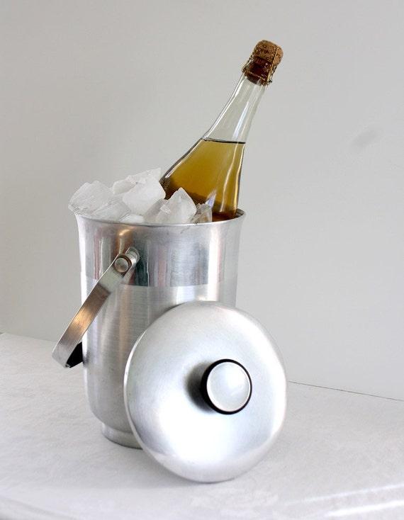 Mid Century Aluminum Ice Bucket Silver Italy
