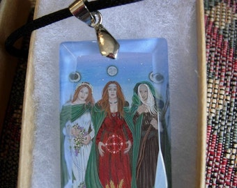 Triple Goddess Crystal Art Pendant