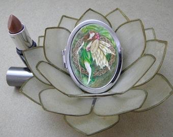Celtic Rowan Tree Fairy Compact Fantasy Art Mirror