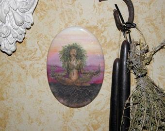 Dryad Spirit Tree Goddess MeditationOval Tile Wall Hanging by Mickie Mueller