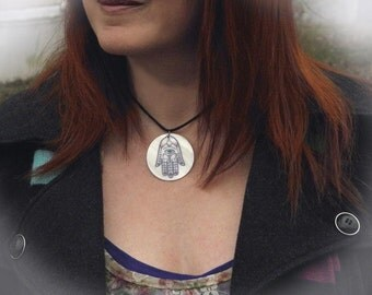 Hamsa Hand Mother of Pearl Amulet by Mickie Mueller