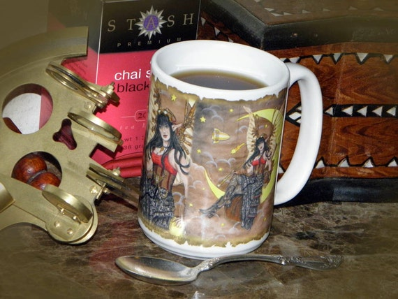 Steampunk Fairy Fantasy Art 15 oz Coffee Mug
