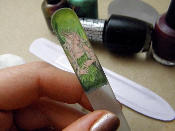 Titania Green Fairy Crystal Glass Nail File
