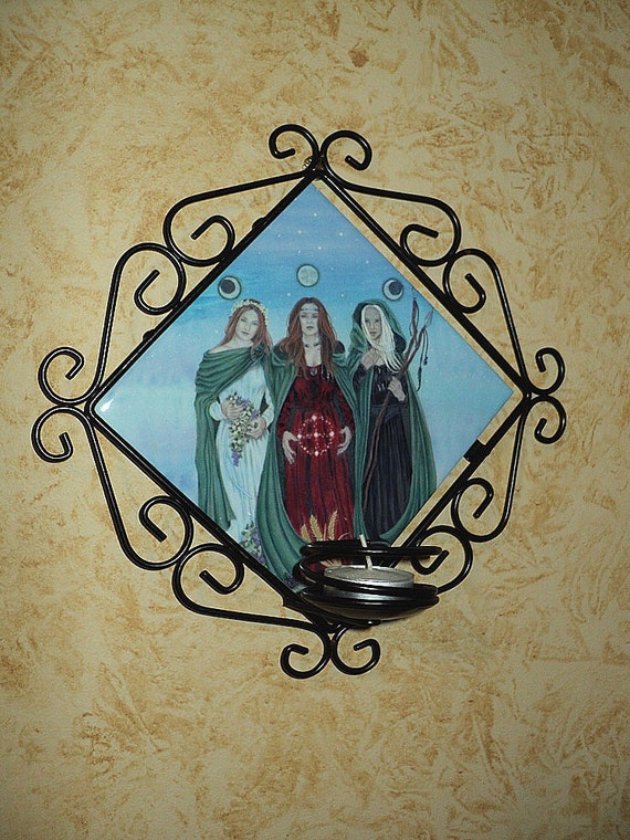 Triple Goddess Wall Candle Sconce