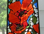 Stained Glass  Mosaic Bright Red Poppies , WALL Art Panel, WINDOW Panel, SUNCATCHER