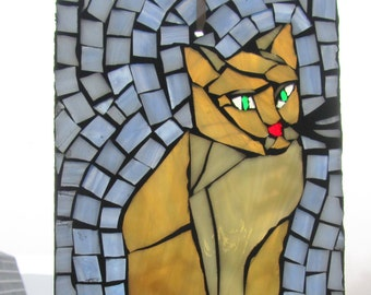 Mosaic CAT-  Stained Glass SunCatcher or wall Decoration