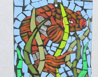 Mosaic Stained Glass SunCatcher or wall Decoration- Gold Fish