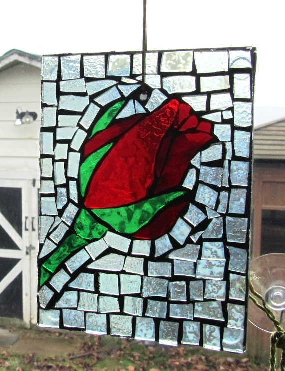 Perfect Gift-  Single Stem Red Rose Stained Glass SunCatcher or wall Decoration