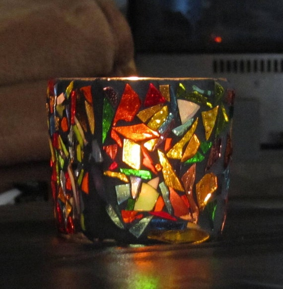 Random Bits, Colorful  Stained Glass Mosaic Candle Votive,