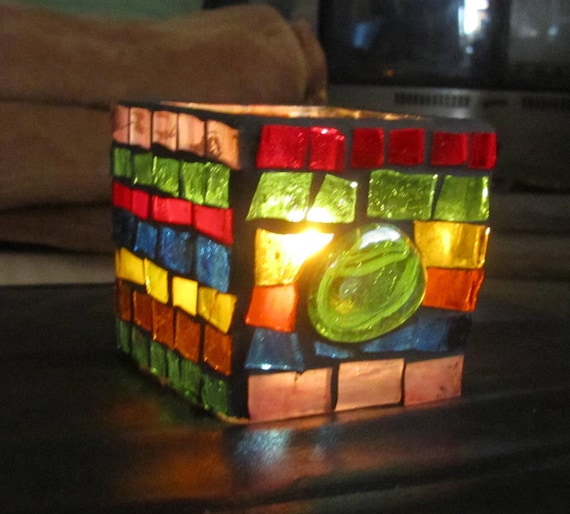 Colorful  Stained Glass Mosaic Candle Votive,