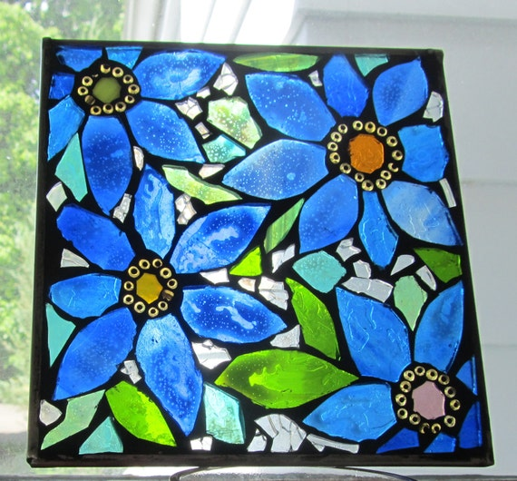 Blue Flowers-  Stained Glass SunCatcher or wall Decoration