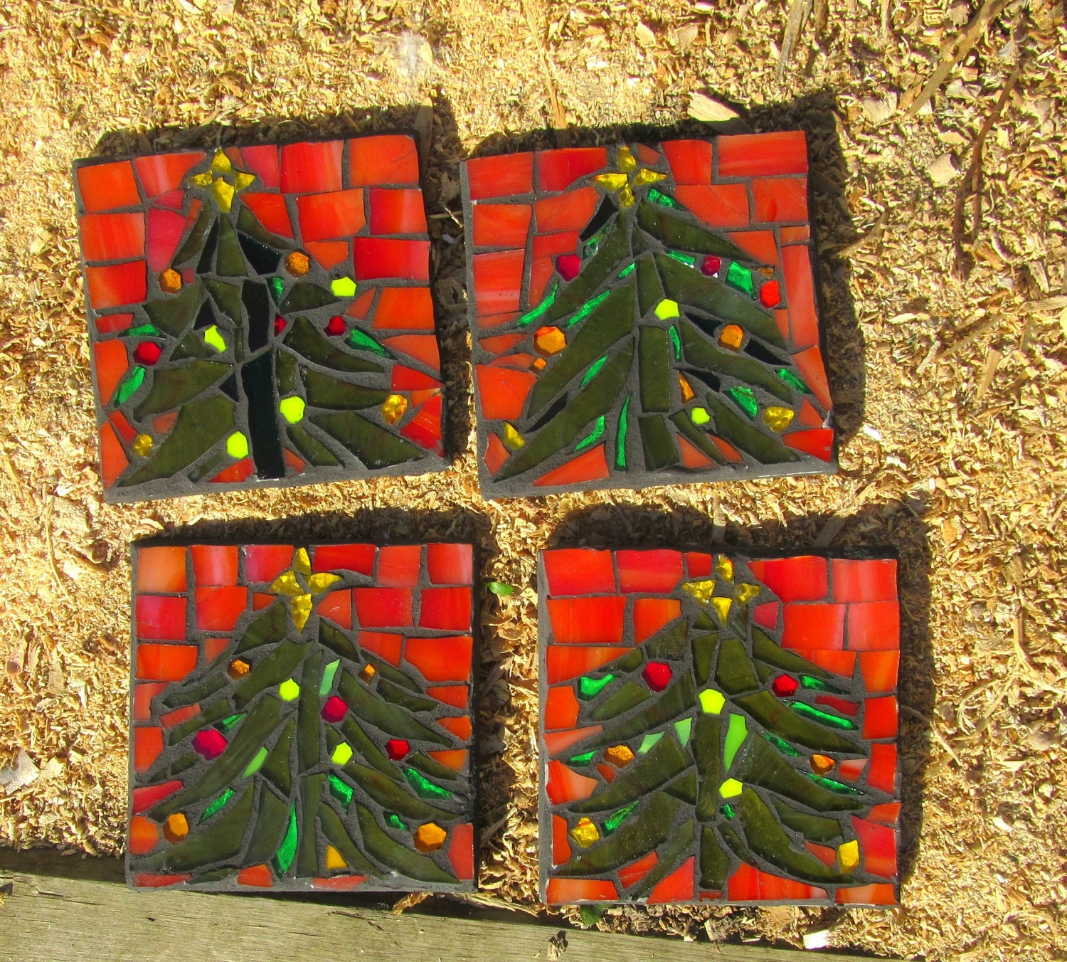 Christmas Tree Mosaic Coasters Set Of 4