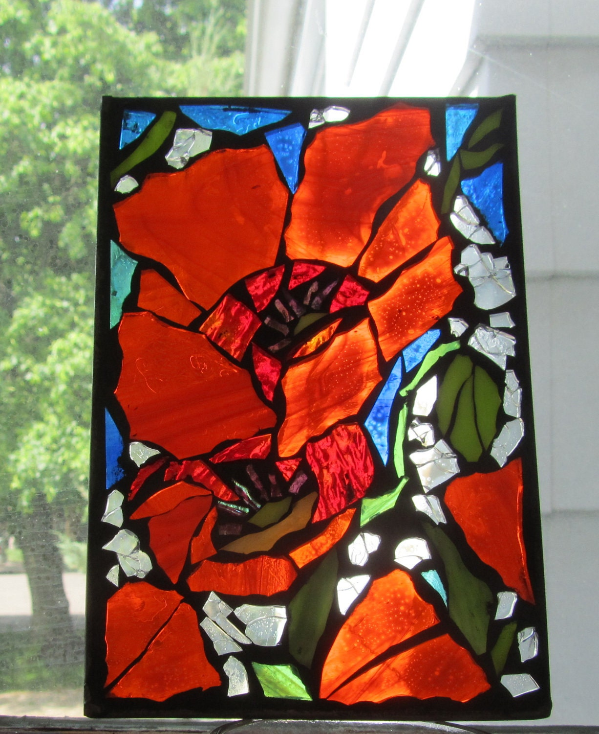 Stained Glass Mosaic Bright Red Poppies Wall Art Panel