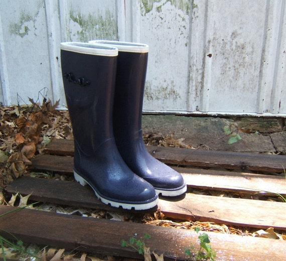 Vintage Navy and White Rubber Authentic Gucci Rain Boots Size 38 8 Featured in Treasury