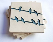 Blue and White Bird on a Wire Coasters (Set of 4, Ceramic)