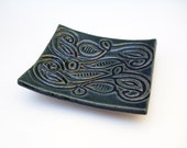 Blue Green Tribal Print Soap Dish, Spoon Rest, Jewelry Dish, Ceramic by artlauren