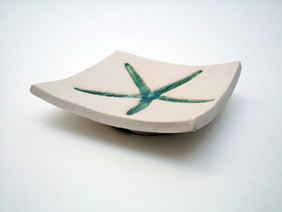 Aqua Starfish Soap Dish, Spoon Rest, Jewelry Dish, Ceramic, Pottery, Made in USA