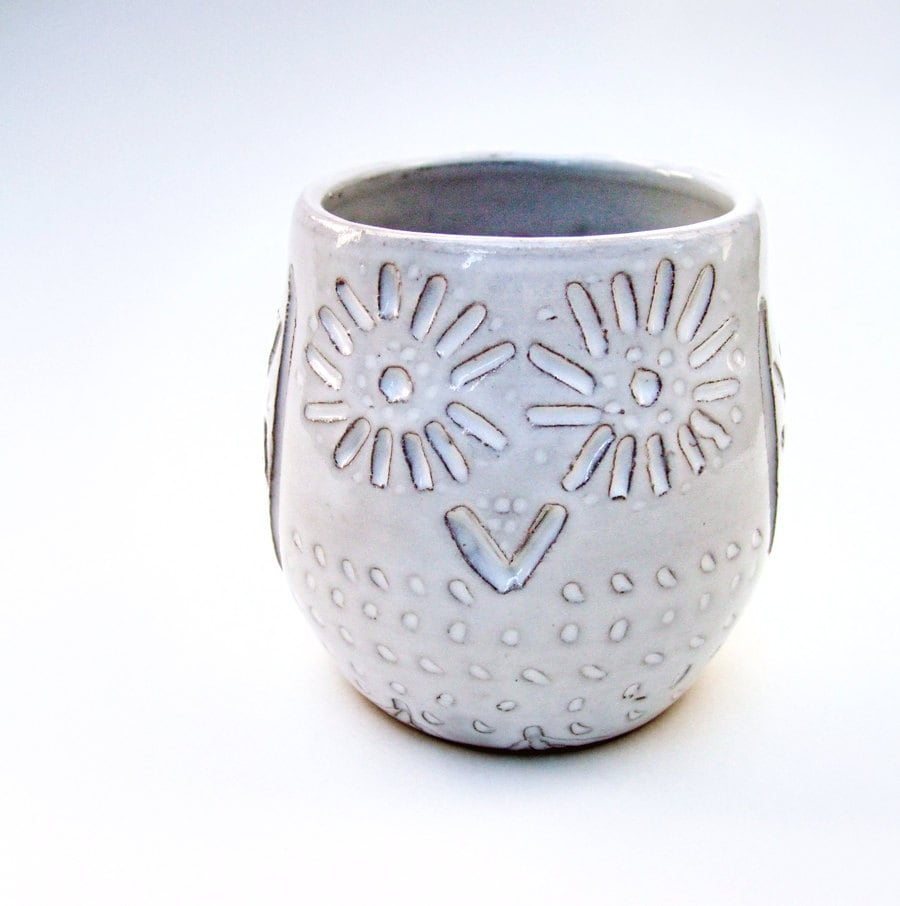 White Owl Vase Ceramic By Artlauren