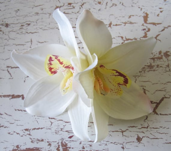 """Hawaiian  White - Yellow Two Orchids hair flower clip 5"""" x 4"""""""