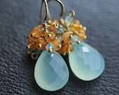 Peruvian Aqua Chalcedony with Carnelian and Apatite Cluster 14k Gold Filled Earrings