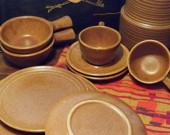 Monmouth 6 Cups and Saucers - Maple Leaf Mark Stoneware  - Mojave Brown - Arts and Crafts Craftsman