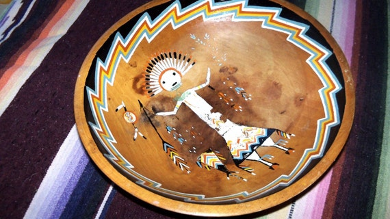 Large Wooden Painted Bowl Native American