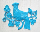 Vintage  Bird Plaque ....Aqua ... Turquoise ... Neon ..Wall Hanging ... Home Decor